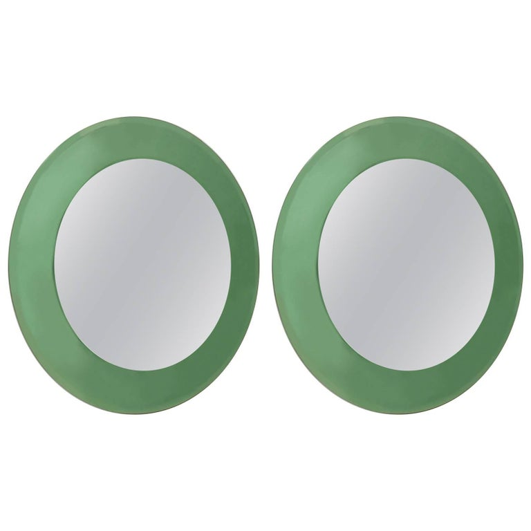 Italian 1940s Tinted Light Green Glass Framed Round Wall Mirrors