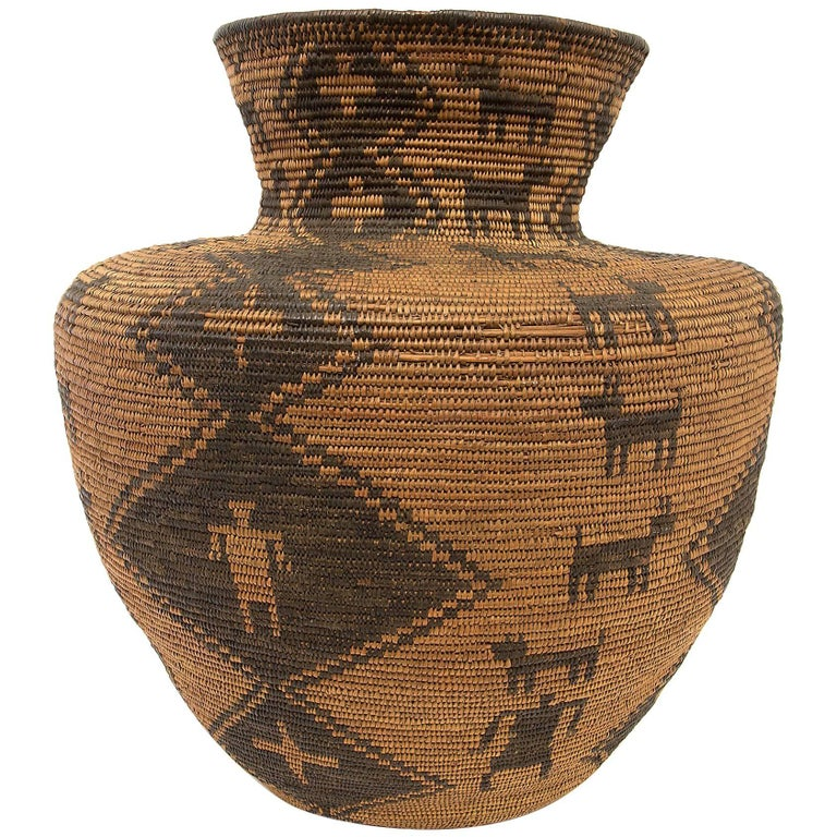 Large Antique Southwestern/Native American Basketry Olla, Apache, 19th Century