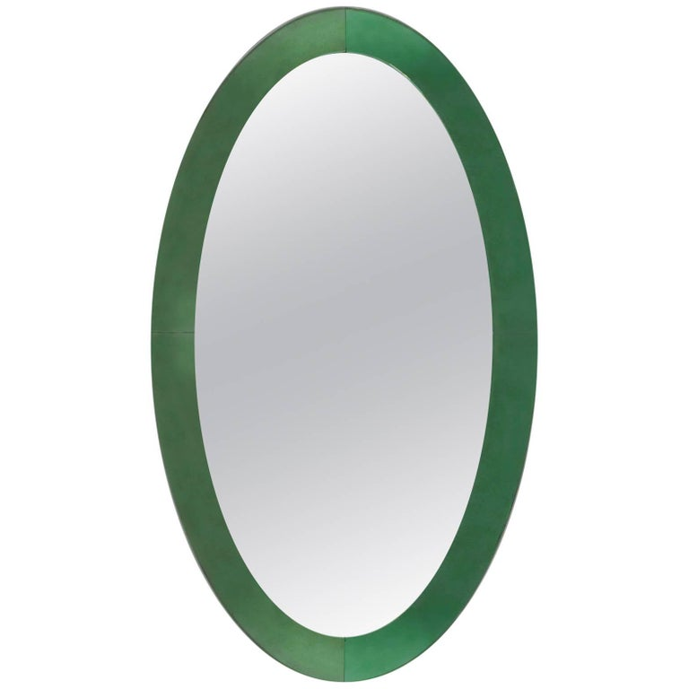Italian 1940s Large Tinted Light Green Glass Framed Oval Wall Mirror