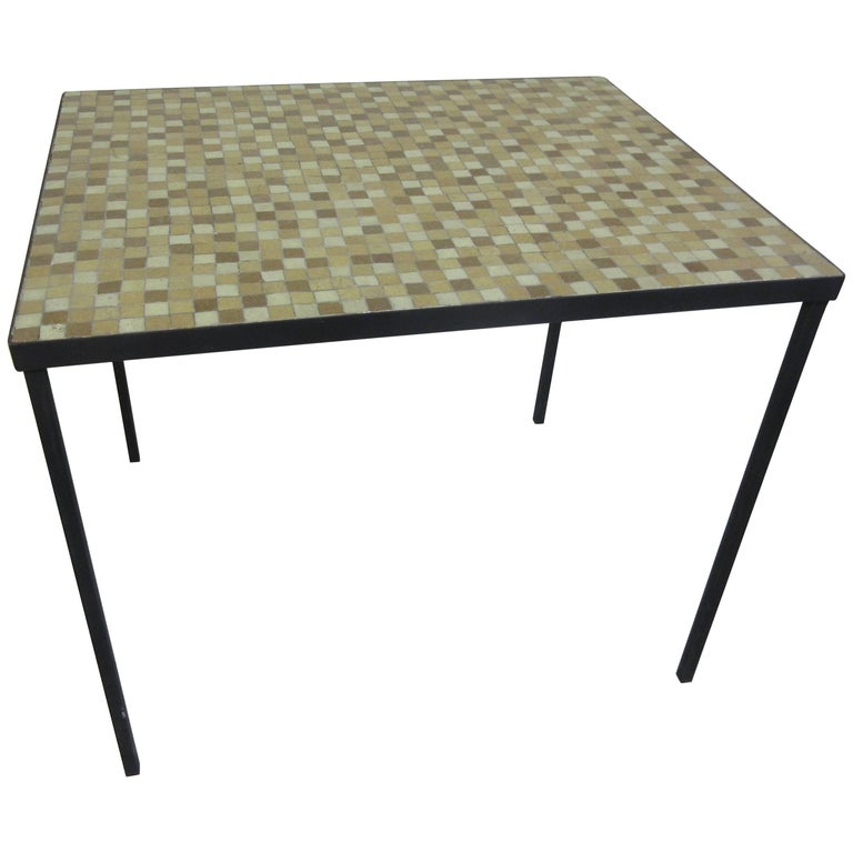 Paul McCobb Tile-Top Wrought Iron Table For Sale