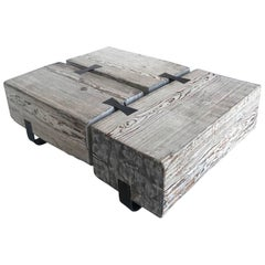 Rustic Wood Beam Coffee Table with Iron Base