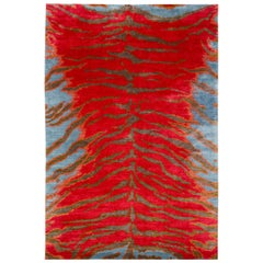 Contemporary Silk Tiger Rug by Carini