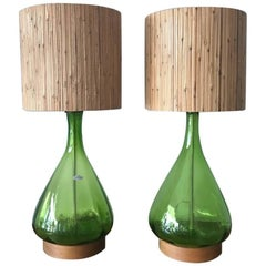 Pair of Unusual Blenko Olive Green Glass Lamps