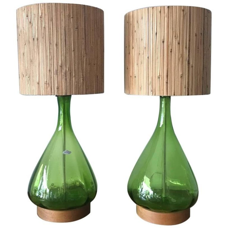 Pair of Unusual Blenko Olive Green Glass Lamps For Sale