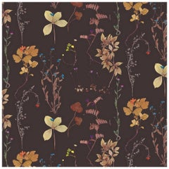 Herbario Designer Wallpaper in Terra 'Neutral Multi-Color on Brown'
