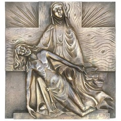 Early 1900s Marked Art Deco Period Bronze Relief Wall Plaque Depicting the Pieta