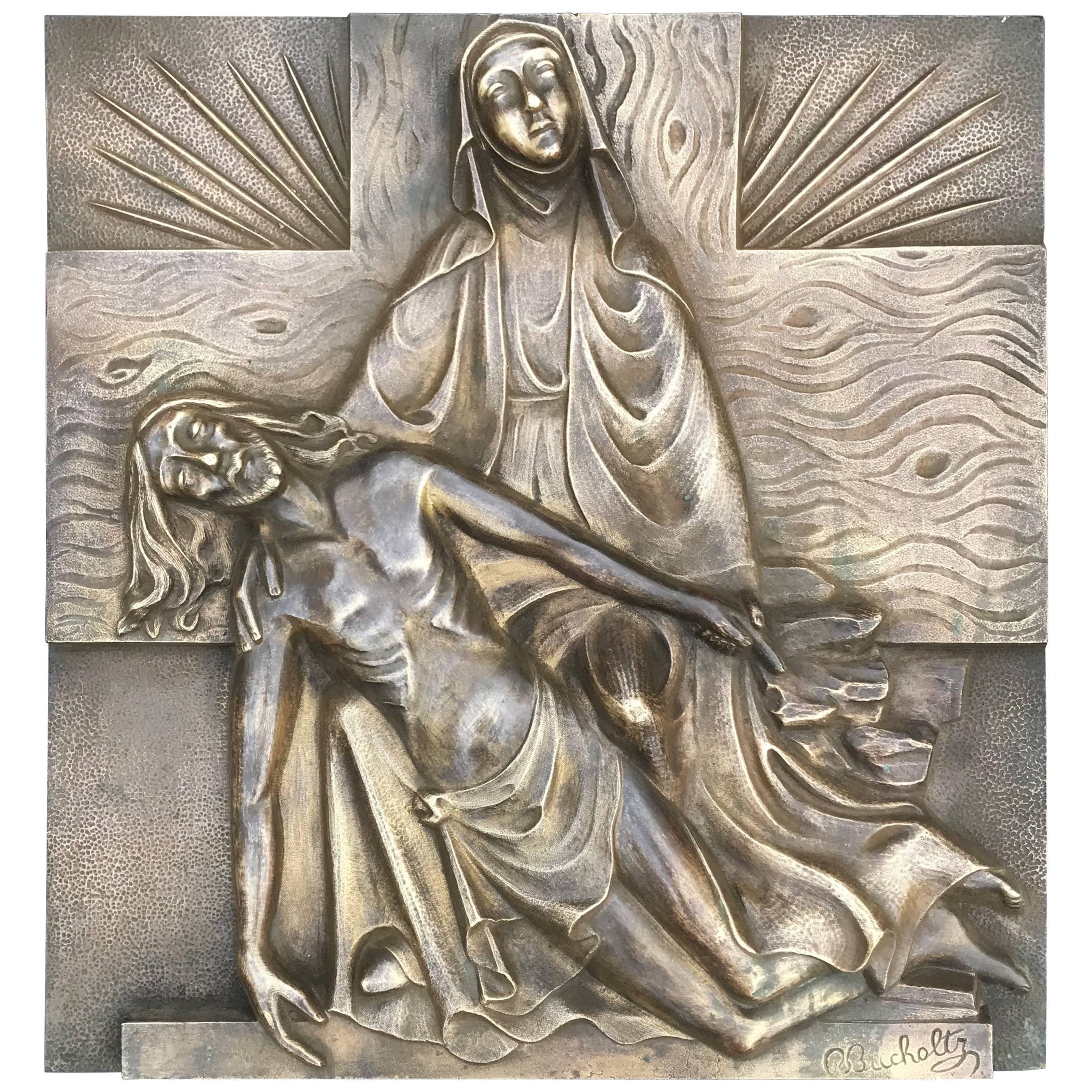 Early 1900s Marked Art Deco Period Bronze Relief Wall Plaque Depicting the Pieta & Early 1900 Art Deco Religious Bronze Wall Plaque in Relief Suffering ...