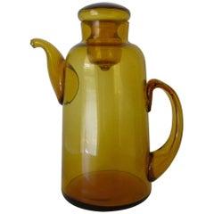 1940s Italian Empoli Amber Art Glass Lidded Pitcher/Tea Pot