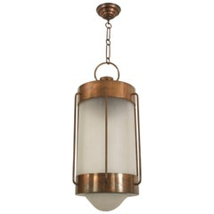 French 1940 Oxidized Copper Cylindrical Shaped Lantern