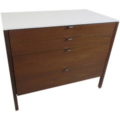 Florence Knoll for Knoll Four-Drawer Walnut Cabinet with Silestone Top