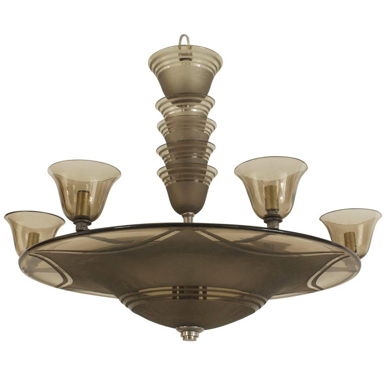 French Art Deco circa 1937 Smoky Glass Dome Shaped Chandelier