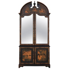 Oriental Vitrine Cabinet Black with Gold Accent Late 20th Century