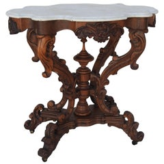 Late 19th Century Victorian Carved Walnut and Marble Turtle Top