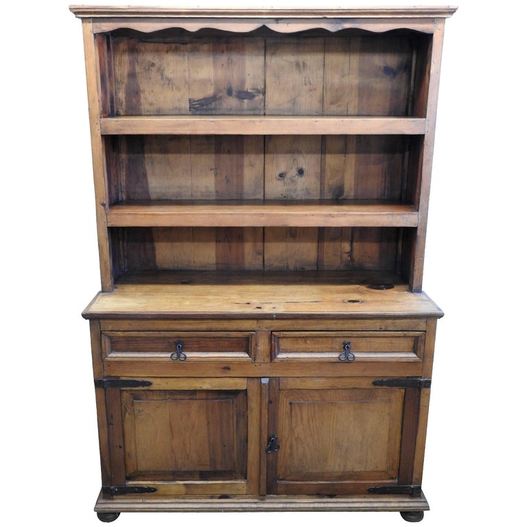 Late 19th Century Stepback Cupboard with Wrought Iron Pulls by Tucan