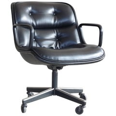 Charles Pollock Executive Chair for Knoll International in Black Leather