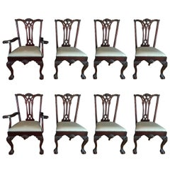 Set of Eight Chippendale Style Dining Chairs, 20th Century