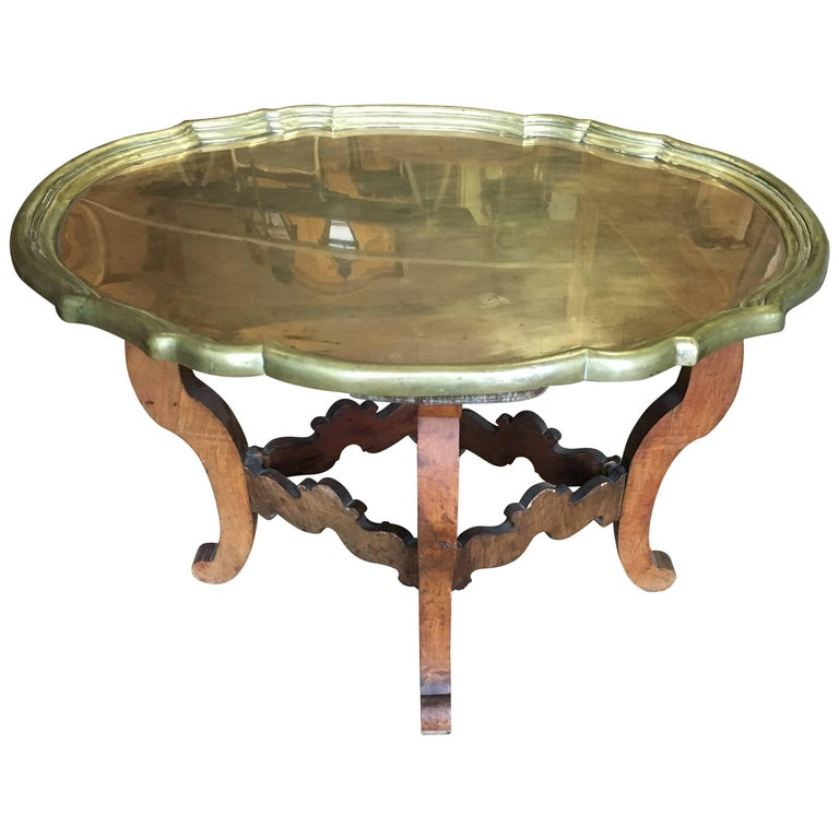 Brass and Wood Tray Table, circa 1930
