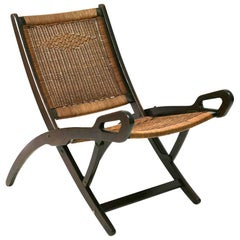 Brevetti Reguitt Gio Ponti Walnut and Wicker Ninfea Folding Chair