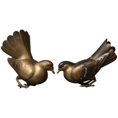 Pair of Japanese Patinated Bronze Pigeons