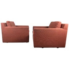 Stunning Pair of Cube Lounge Chairs Attributed to Milo Baughman