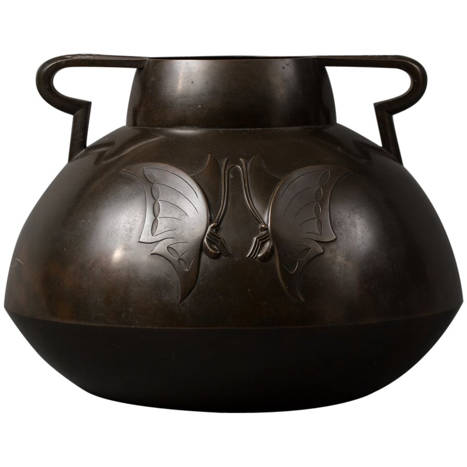 Japanese Bronze Vase with Butterfly Design