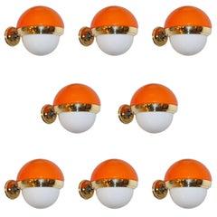 1960s Italian Vintage White Orange Murano Glass & Brass Double-Lit Sconces