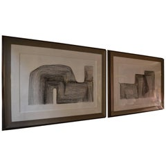 Set of Two Linear Etchings