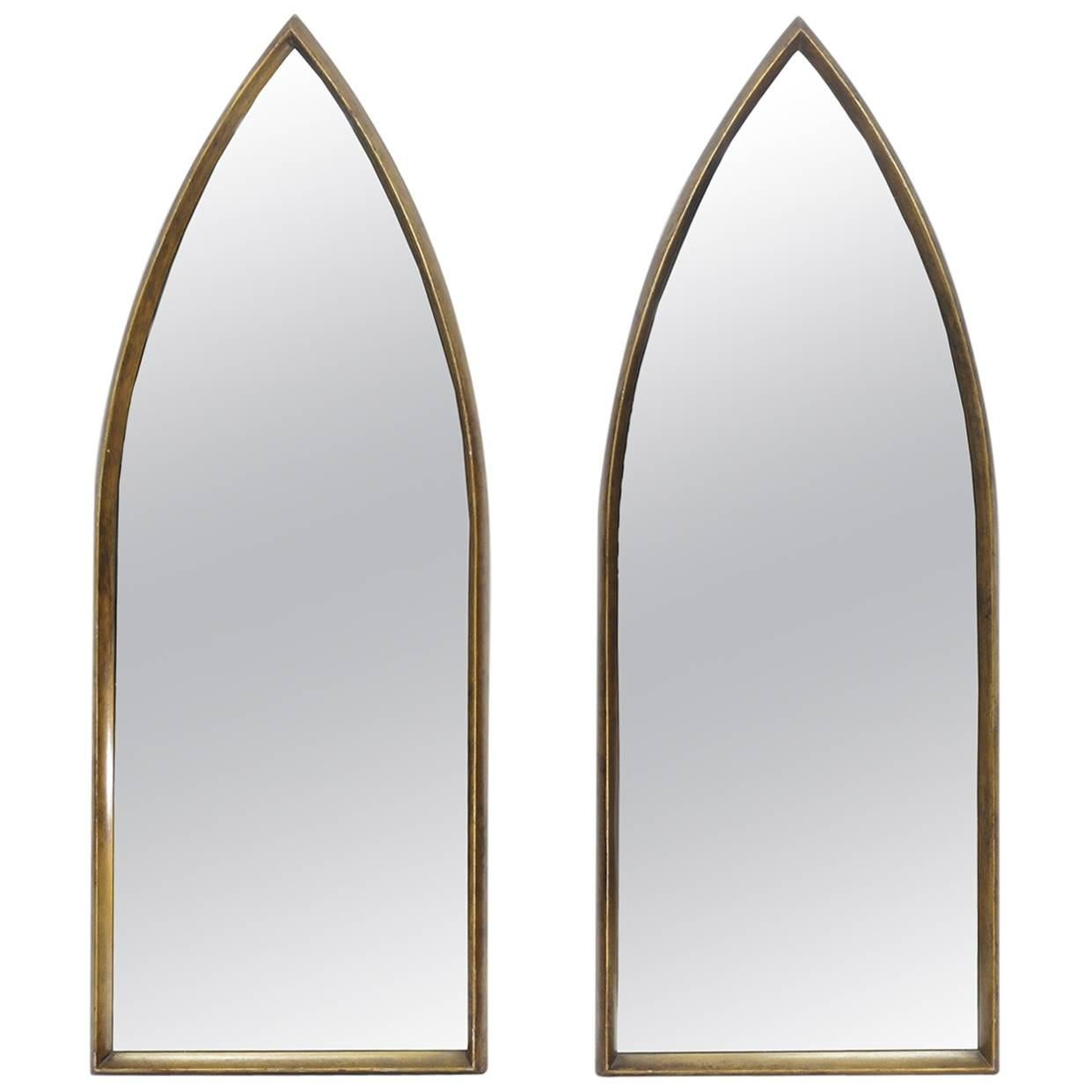 Pair of Gilt La Barge Arched Hanging Wall Mirrors