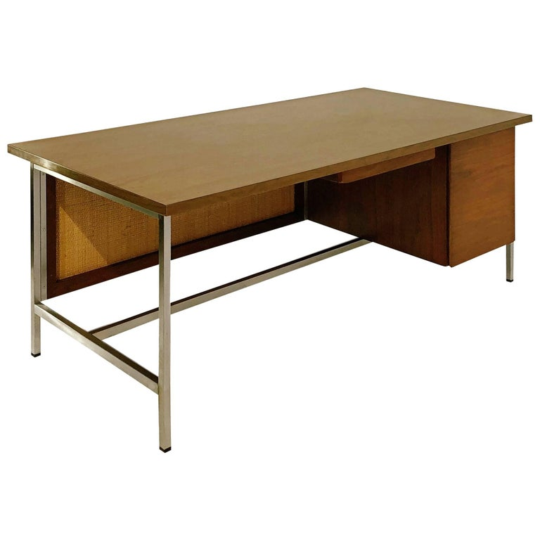 Florence Knoll Caned Executive Desk, circa 1960