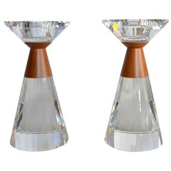 Limited Edition Artist Signed Large Colonna Swarovski Crystal Candleholders