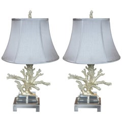 Faux Coral Table Lamps in Silver