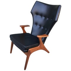 Architect Kurt Ostervig Leather High Wingback Lounge Chair Danish Modern