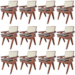 Set of 12 Teak Chairs in the Style of Pierre Jeanneret