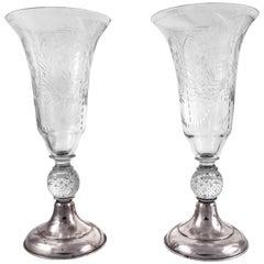 Pair of Hawkes Trumpet Vases