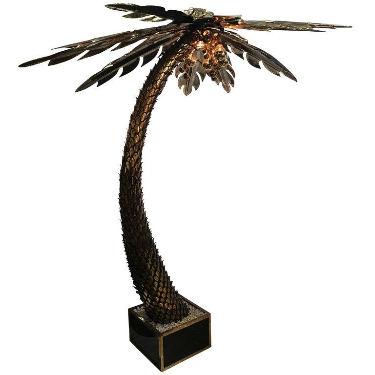 Maison Jansen Brass Palm Tree Floor Lamp