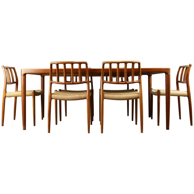 Danish Dining Room Set by Niels Otto Moller Model 83 Chairs 1960 Teak Papercord