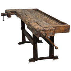 Antique Oak Carpenter's Workbench, 1935