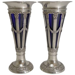 Pair of Antique English Sterling Silver Vases by Walker and Hall