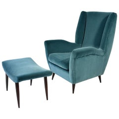 Gio Ponti Midcentury High Back Armchair and Ottoman, circa 1950