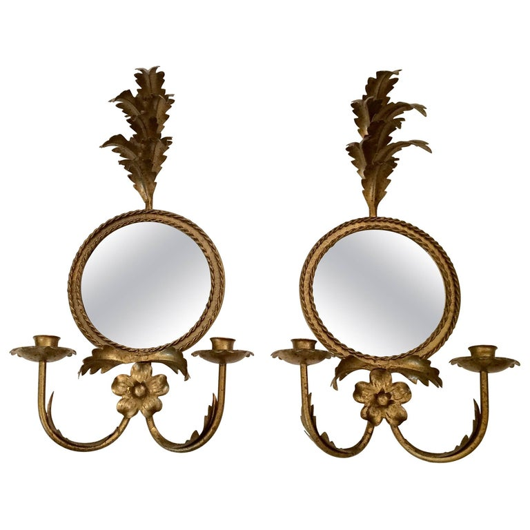 Pair of Lovely Italian Giltiron and Tole Sconces with Round Mirrors
