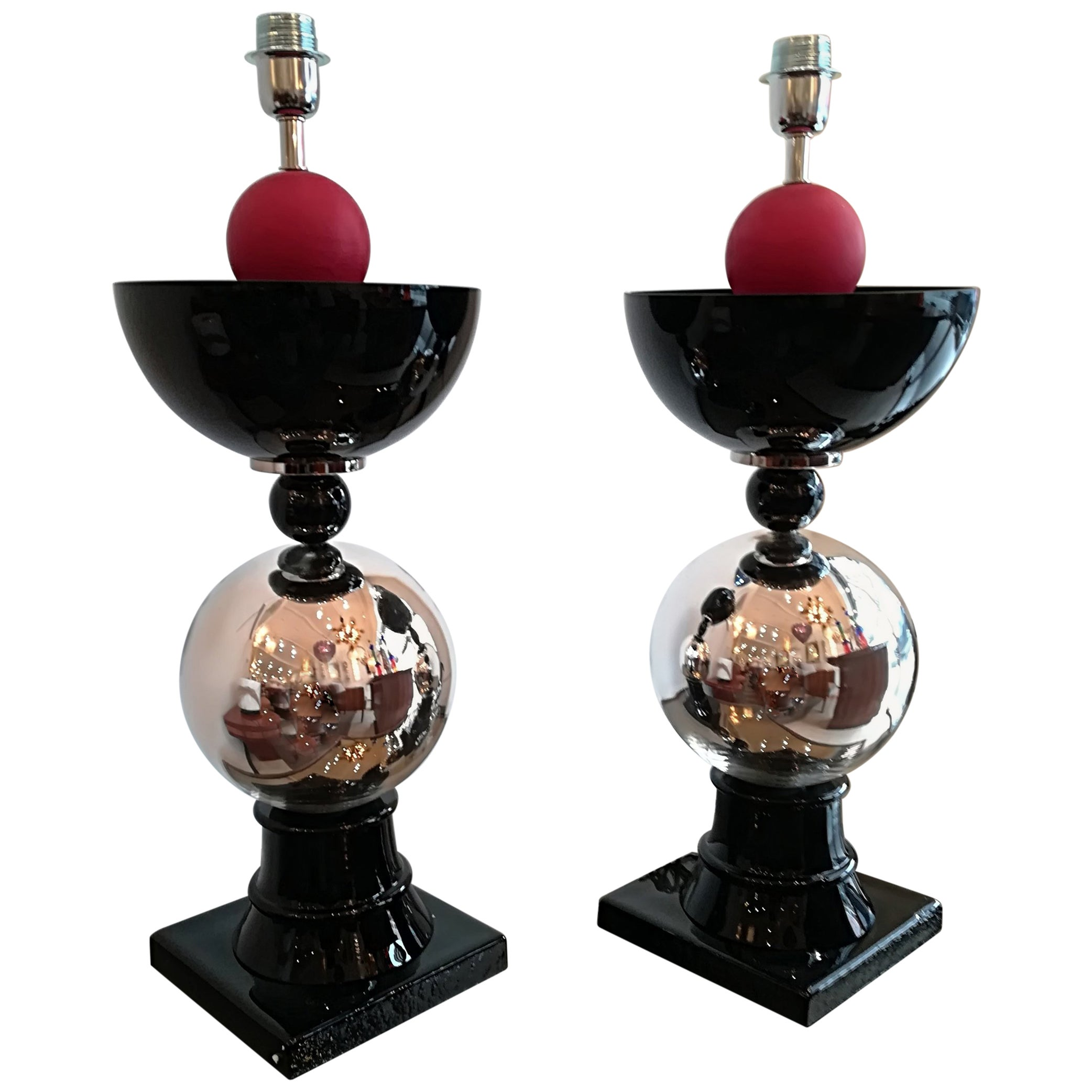 Pair of Italian Table Lamps in Handblown Murano Glass
