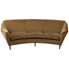 "Curved Three-Seat Italian Sofa, New Upholstery in ""Caramel"" Velvet"