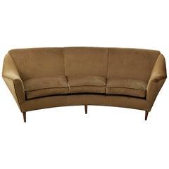 "Curved Three-Seat Italian Sofa, New Upholstery in ""Caramel"" Velvet"