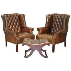 Pair of Chesterfield Restored Hand Dyed Cigar Brown Leather Wingback Armchairs