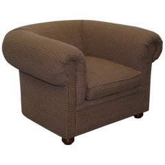 Stunning Ralph Lauren Cub Armchair, Herringbone Wool Upholstery Chesterfield