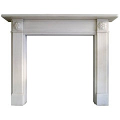 White Marble English Regency Style Fireplace Mantel