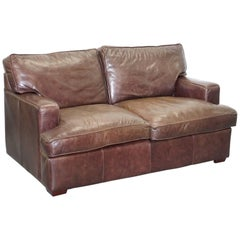 Laura Ashley Vintage Heritage Brown Leather Two-Seat Sofa Compact Arms