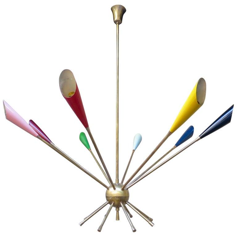 Italian Midcentury Brass Sputnik Chandelier