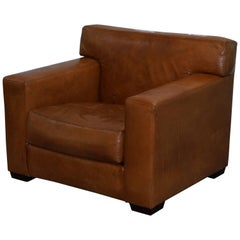 Nice Vintage Ralph Lauren Graham Club Armchair Tan Brown Custom Buffalo Leather