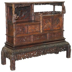 Rare Antique Hand-Carved Chinese Cabinet with Monkeys Sideboard Bookcase Drawers